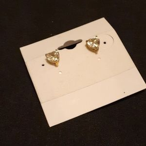 Golden-tone Sterling Silver Heart Shaped Studs